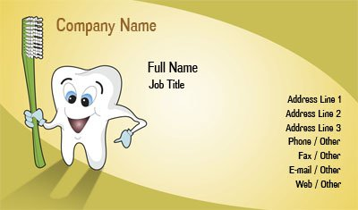 Tooth and Toothbrush Business Card Template